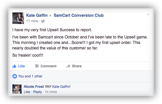 Kate Gaffin SamCart Testimonial Upsells Double Customer Vlaue